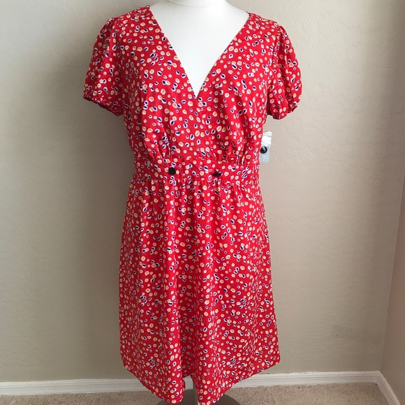 FOREVER 21 PLUS SIZE 3X FLORAL RED EASTER DRESS NWT
